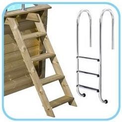 Scala esterna in legno e scala interna in acciaio inox