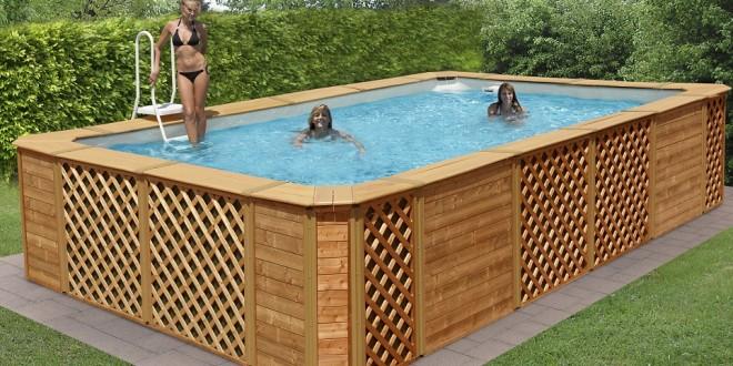 Piscine fuori terra rivestite in legno technypools for Piscina fuori terra 10x5 prezzi