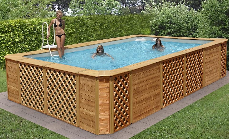 Piscine fuori terra rivestite in legno technypools for Piscine hors sol non imposable