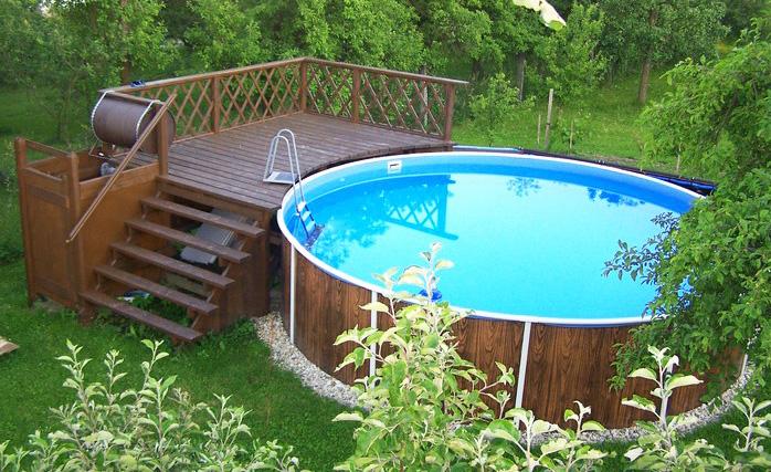 piscine fuori terra azuro con rivestimento effetto legno