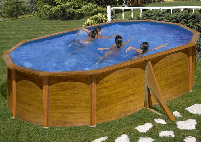 Piscine fuori terra madeira ad effetto legno by gre ovali for Piscine fuori terra rotonde