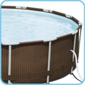 Piscine fuori terra bestway steel pro frame rattan for Coperture piscine fuori terra bestway